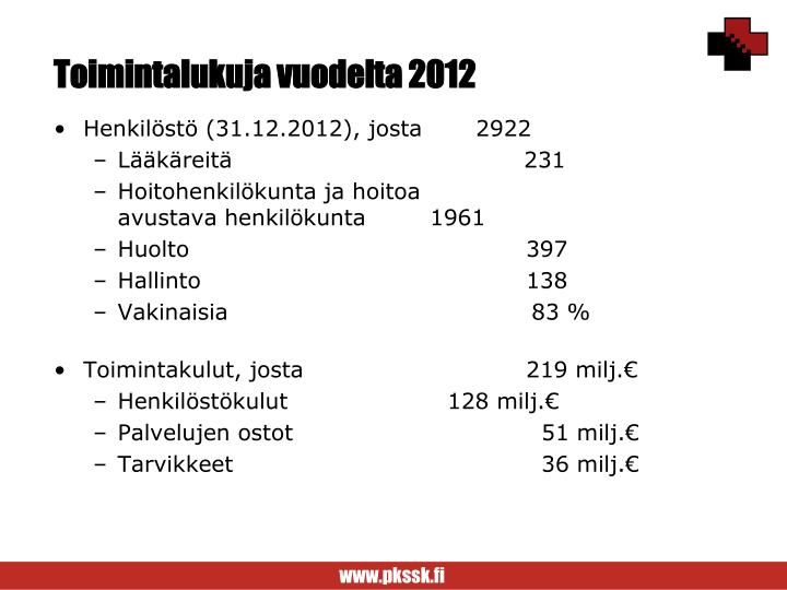 Toimintalukuja vuodelta 2012