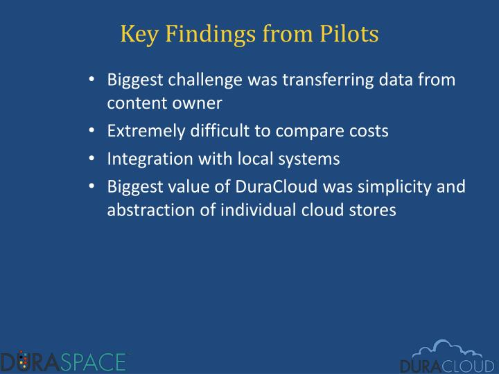 Key Findings from Pilots