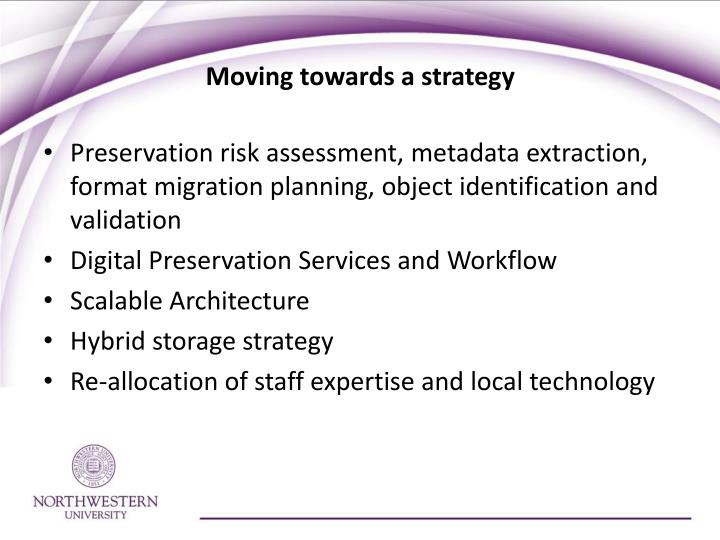 Moving towards a strategy