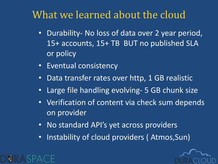 What we learned about the cloud