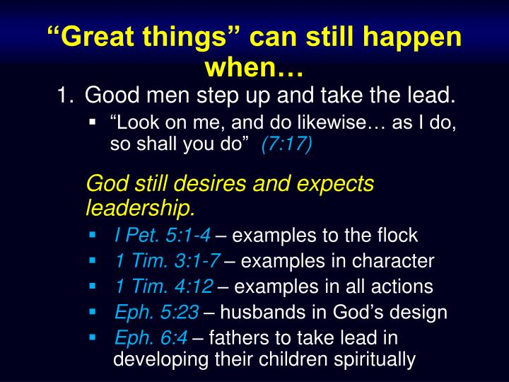 """Great things"" can still happen when…"