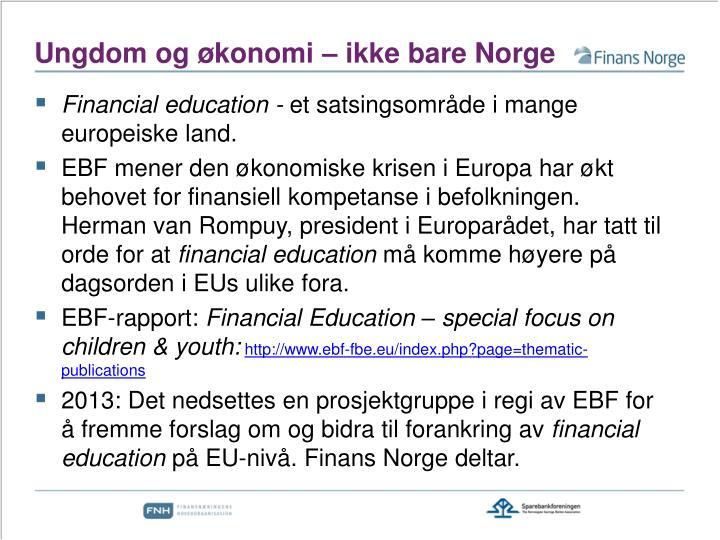 Ungdom og økonomi – ikke bare Norge
