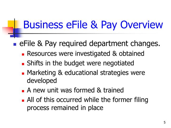 Business eFile & Pay Overview