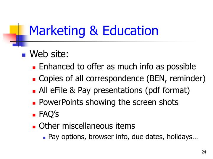 Marketing & Education