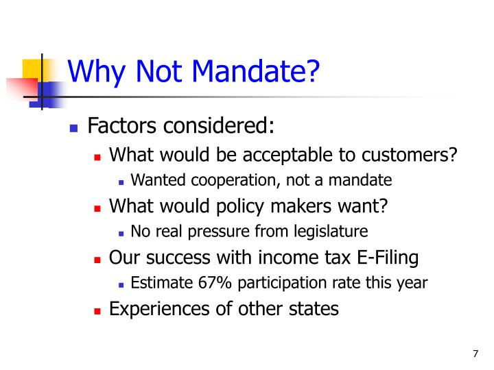 Why Not Mandate?