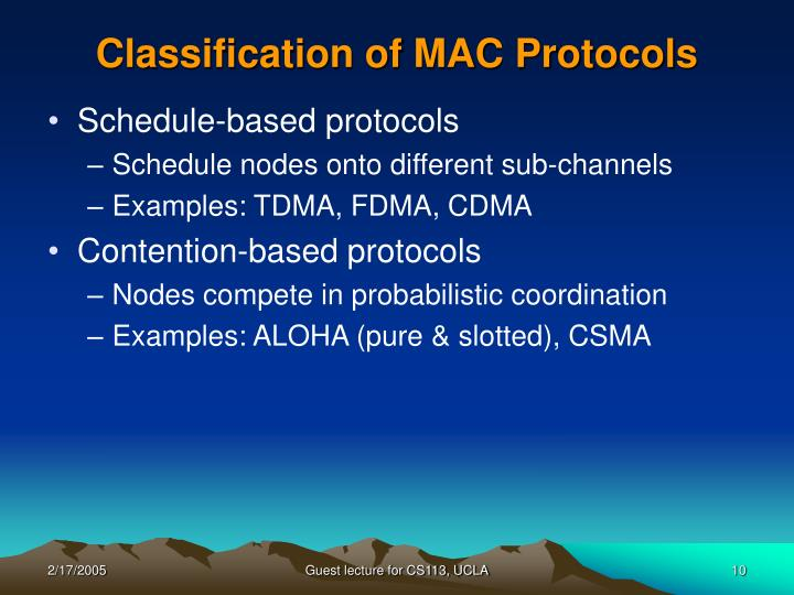 Classification of MAC Protocols