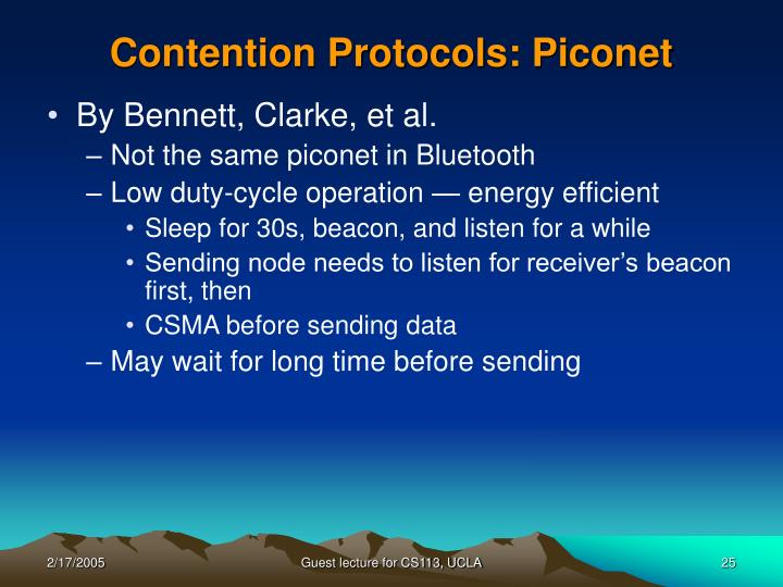 Contention Protocols: Piconet
