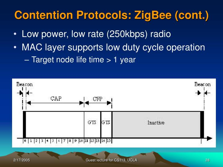 Contention Protocols: ZigBee (cont.)