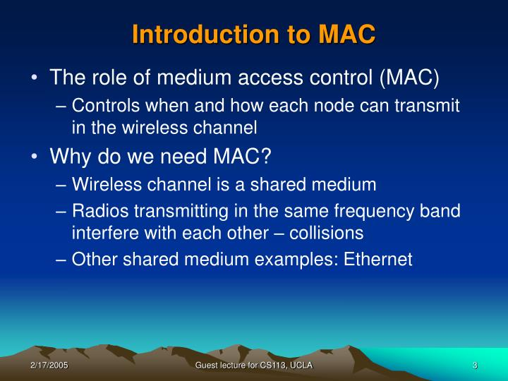 Introduction to mac