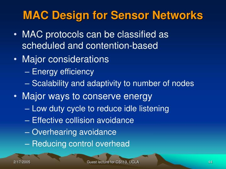 MAC Design for Sensor Networks