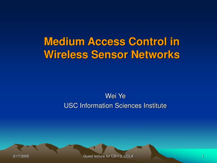 Medium access control in wireless sensor networks