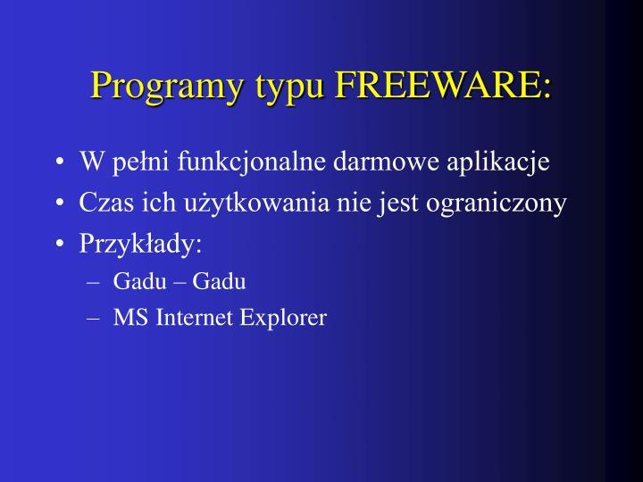 Programy typu FREEWARE: