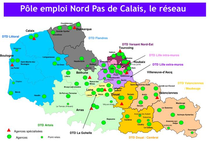 Pôle emploi Nord Pas de Calais, le réseau