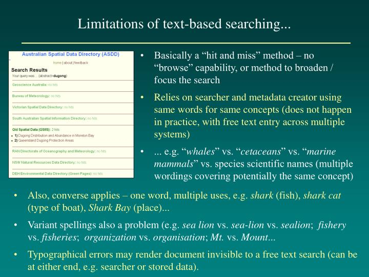 Limitations of text-based searching...