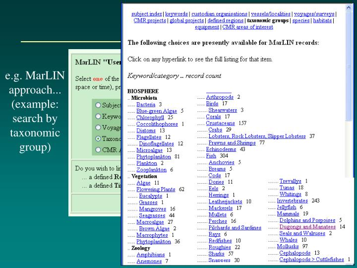 e.g. MarLIN approach... (example: search by taxonomic group)