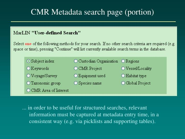 CMR Metadata search page (portion)