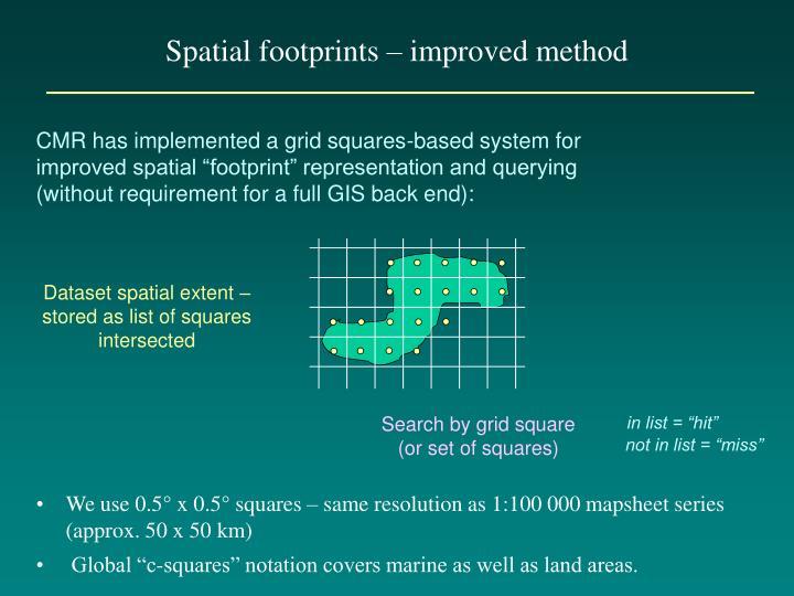 Spatial footprints – improved method