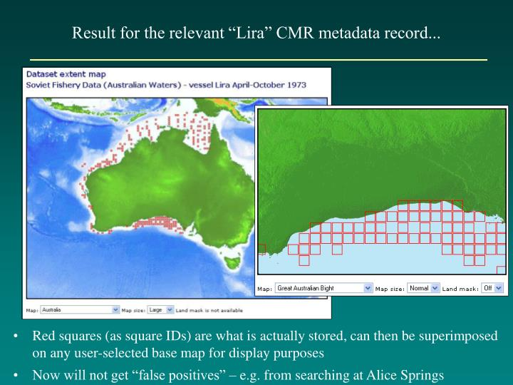 "Result for the relevant ""Lira"" CMR metadata record..."