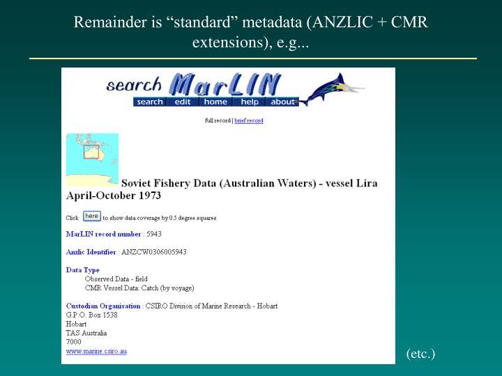 "Remainder is ""standard"" metadata (ANZLIC + CMR extensions), e.g..."