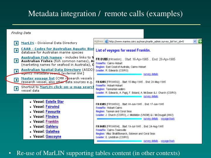 Metadata integration /  remote calls (examples)