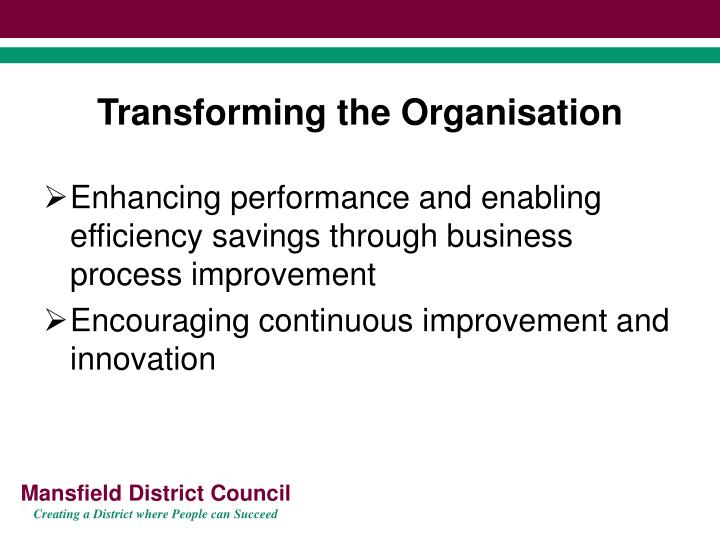 Transforming the Organisation