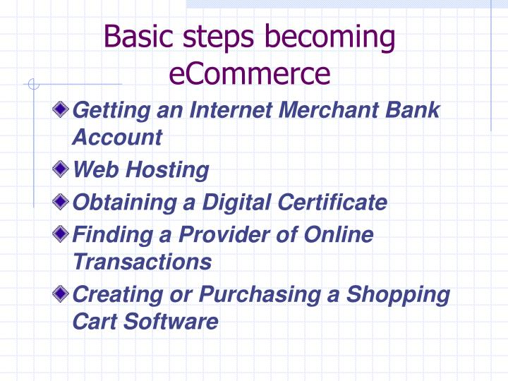 Basic steps becoming eCommerce