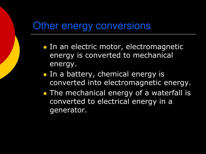 Other energy conversions