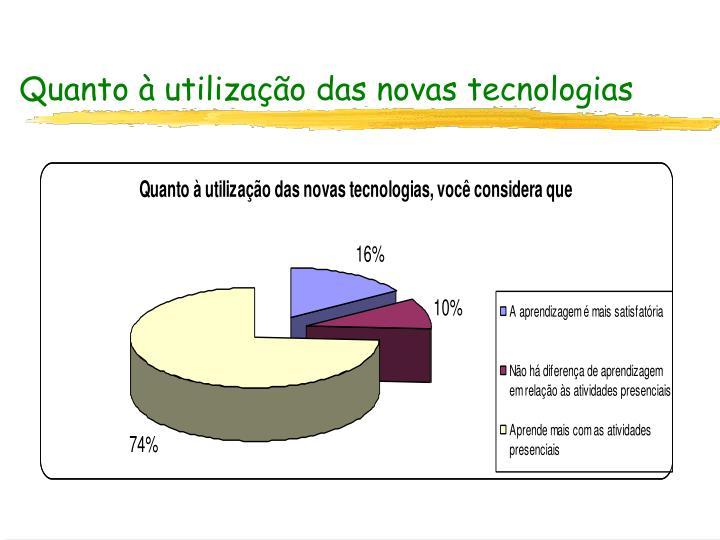 Quanto à utilização das novas tecnologias