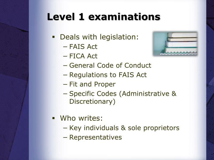 Level 1 examinations