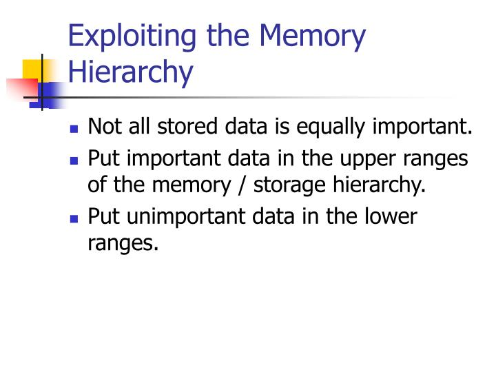 Exploiting the Memory Hierarchy