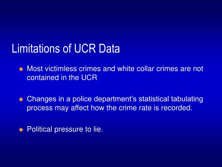 Limitations of UCR Data