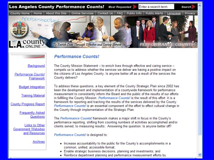 Digital dashboards for los angeles county departments commissions and agencies