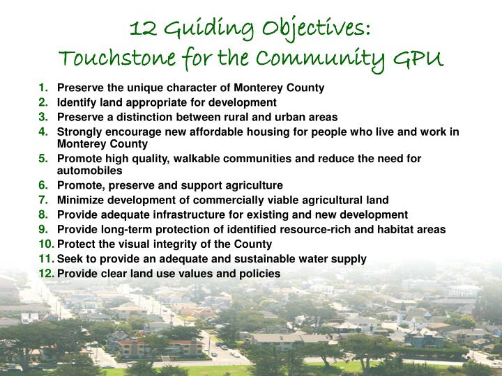 12 Guiding Objectives: