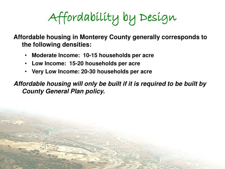 Affordability by Design