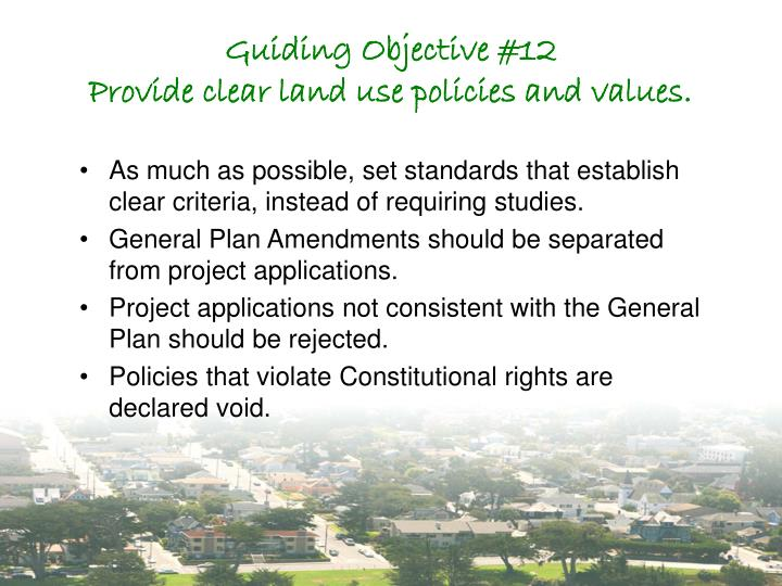 Guiding Objective #12