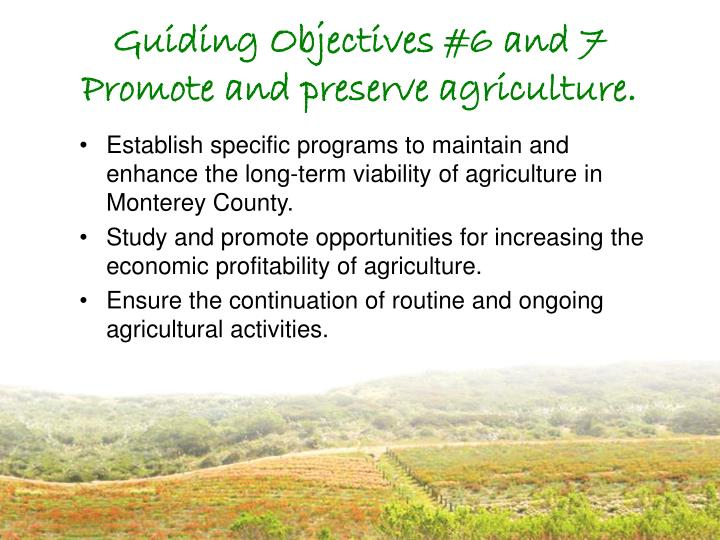 Guiding Objectives #6 and 7