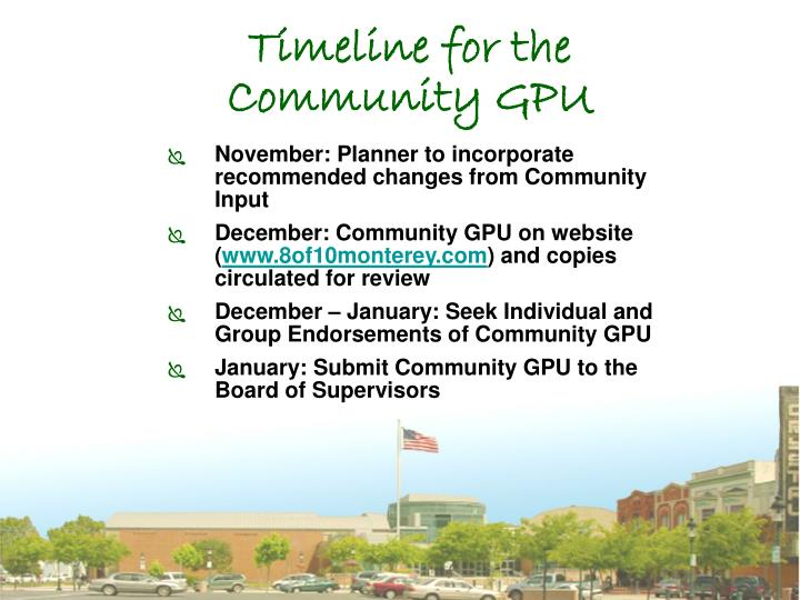 Timeline for the Community GPU