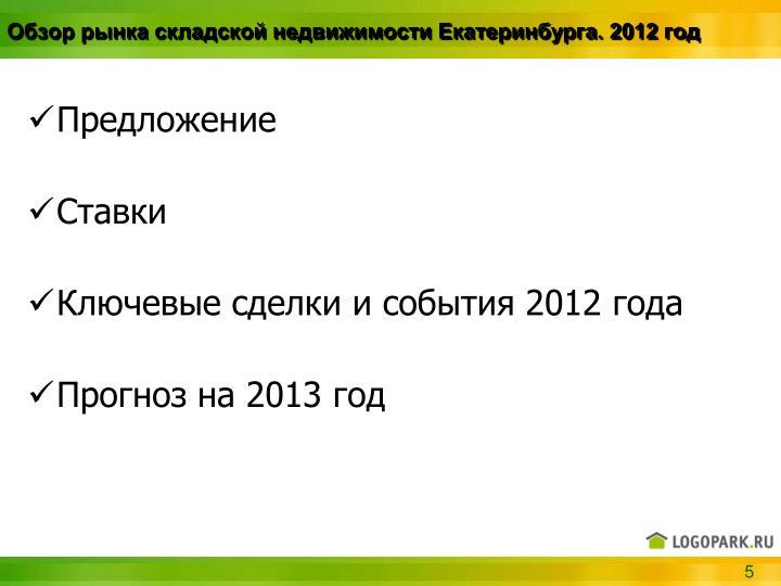 Обзор рынка складской недвижимости Екатеринбурга. 2012 год
