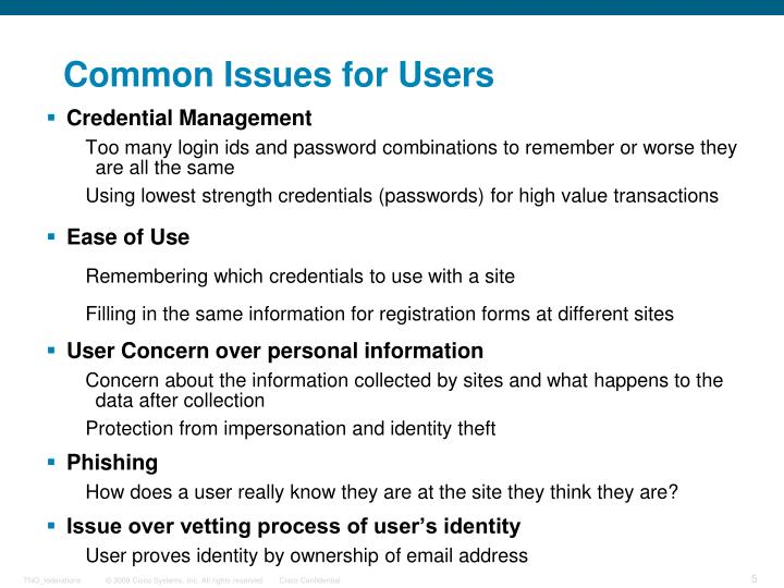 Common Issues for Users