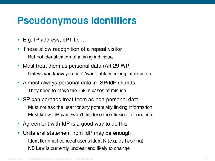 Pseudonymous identifiers