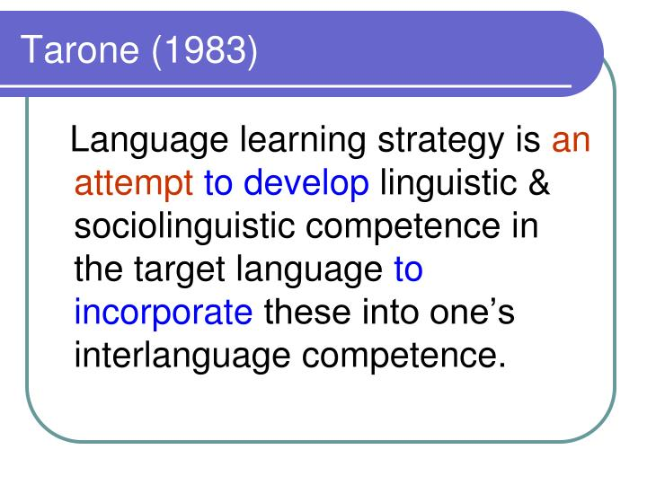 Tarone (1983)