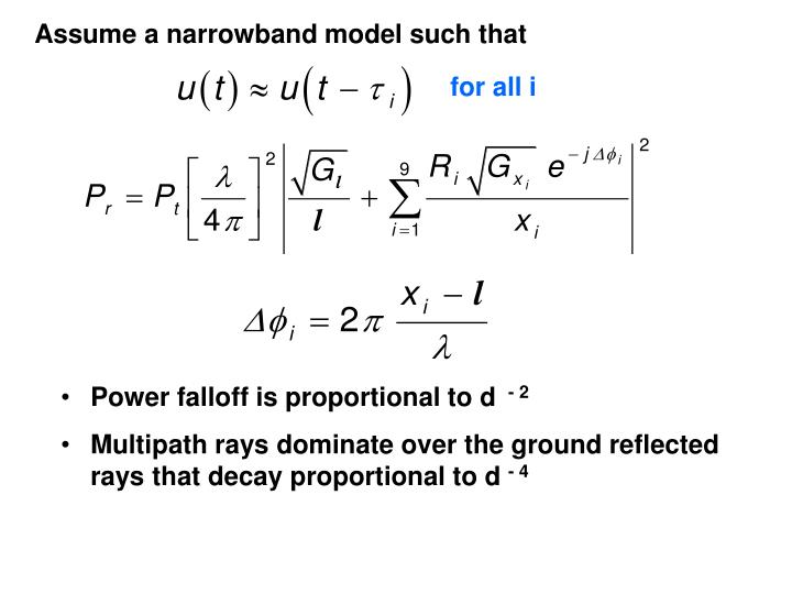 Assume a narrowband model such that