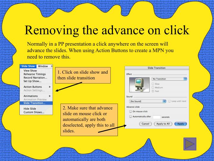 Removing the advance on click