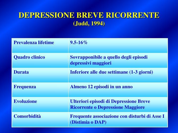 DEPRESSIONE BREVE RICORRENTE
