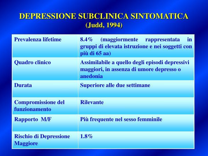 DEPRESSIONE SUBCLINICA SINTOMATICA