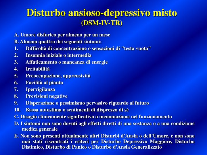 Disturbo ansioso-depressivo misto