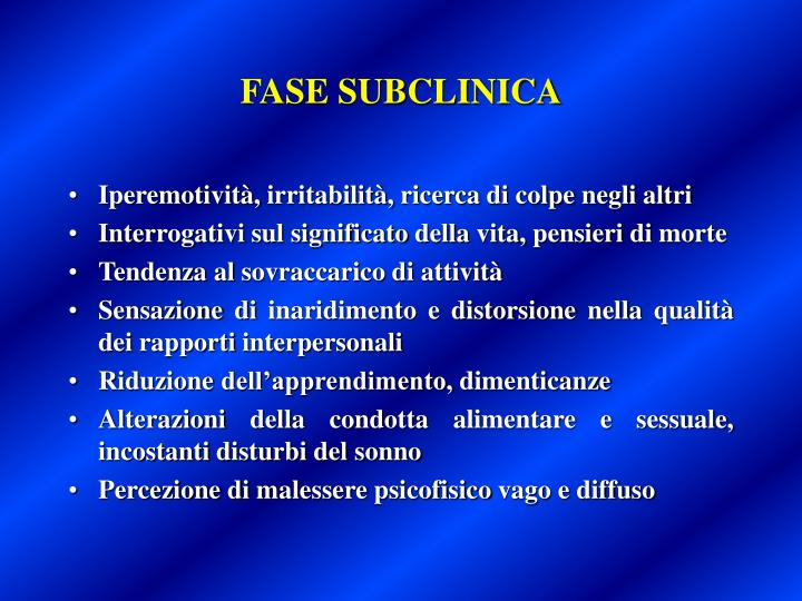 FASE SUBCLINICA