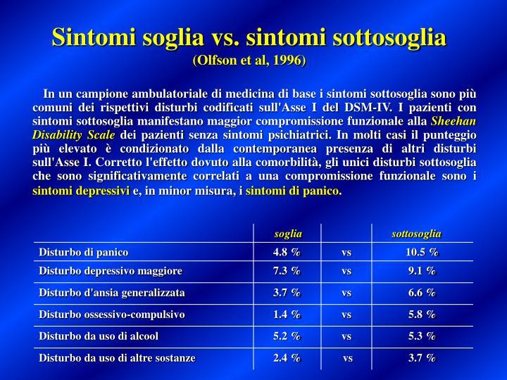 Sintomi soglia vs. sintomi sottosoglia