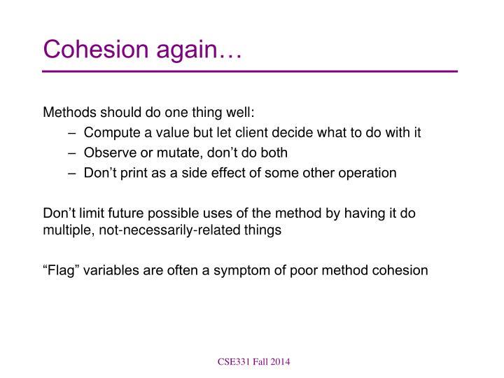 Cohesion again…