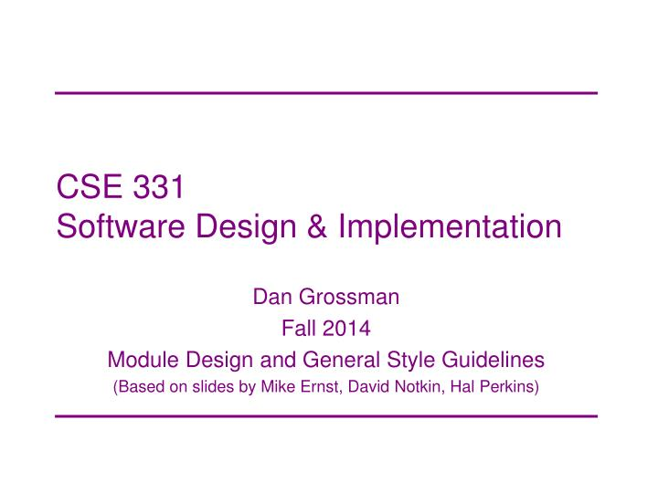 Cse 331 software design implementation